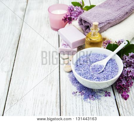 Spa Setting With Lilac Flowers
