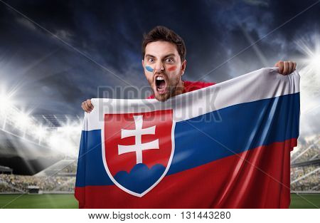 Fan holding the flag of Slovakia