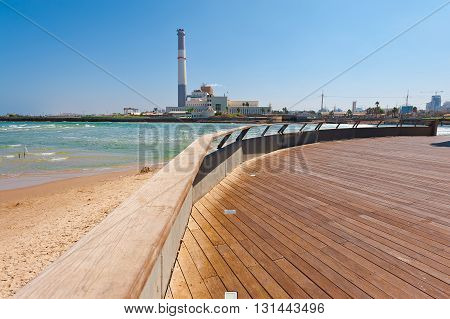 View of the Power Station from the Promenade of the Old Port in Tel Aviv