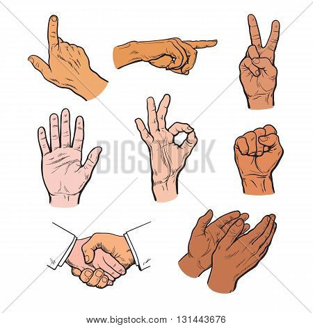 set of hands. Icons of different characters. Pointing finger. Clapping, applause, Stop and ok. Touching anything. Finger touch monitor. Finger points to something. Fist as a symbol of strength