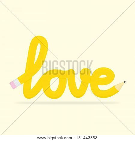 Yellow pencil love shape isolated vector illustration