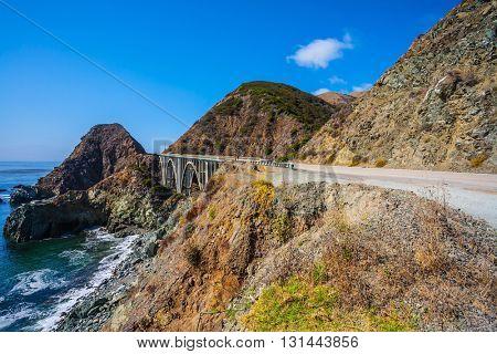 California State Route 1. Scenic arch bridge - viaduct runs along the Pacific coast