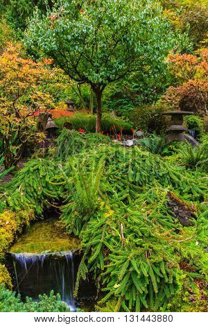 Quiet Japanese garden. Scenic decorative park Butchart Gardens on Vancouver Island, Canada