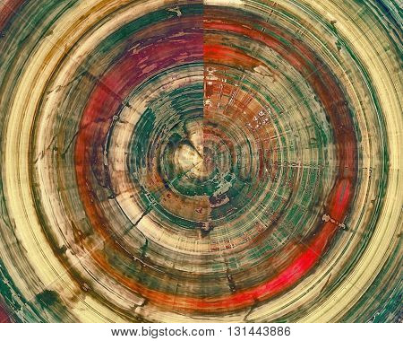 Spherical aged vintage background with weathered texture, grunge design elements and different color patterns: yellow (beige); brown; gray; green; red (orange); purple (violet)