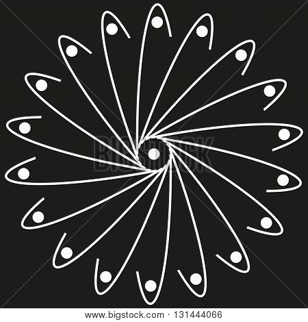 White whirling spiral logo with dots on a black background