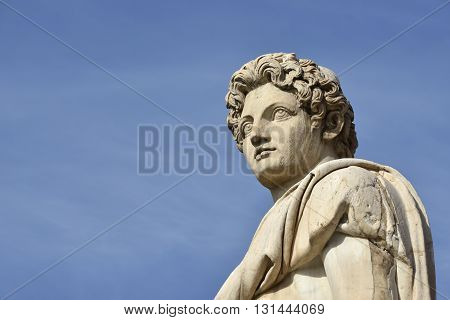 Ancient roman statue of Dioskouri with copy space, at the top of Capitoline Hill staircase and balustrade in the center of Rome (1st century BC)
