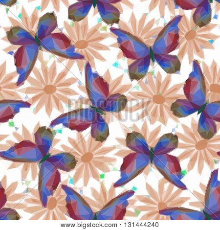 Symbolical Colorful Butterflies and Flowers, Floral Ornament, Polygonal Pattern, Low Poly Background. Vector