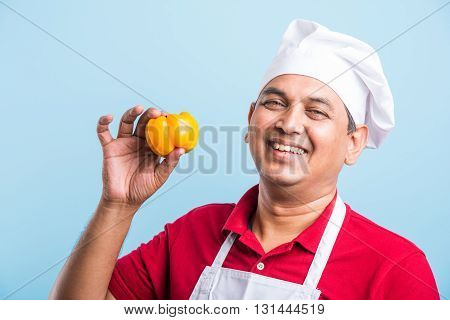 indian Male chef showing capsicum , asian male cook chef and colorful capsicum, isolated over blue background