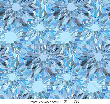 Seamless floral pattern with light blue guilloche flowers. Sapphire crystal seamless guilloche pattern or background. Vector illustration