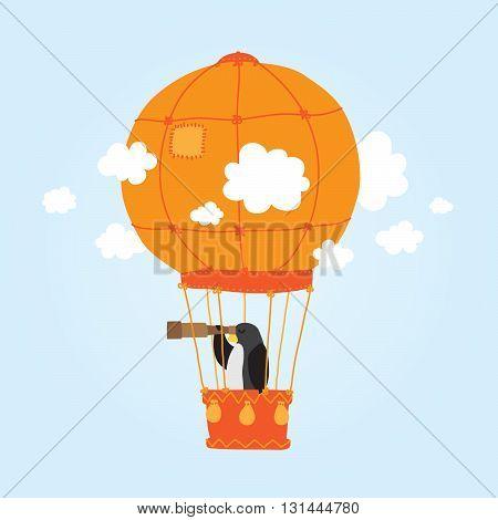 Penguin in clouds air ballon vector illustration