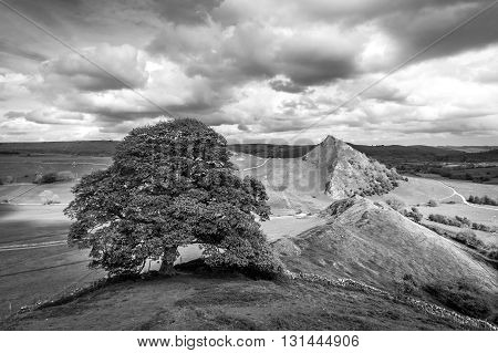 Chrome Hill from Parkhouse Hill, black and white, Peak District, England