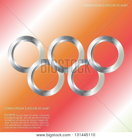 Abstract linked circles. Element for design cover brochure flyer greeting card. Vector illustration