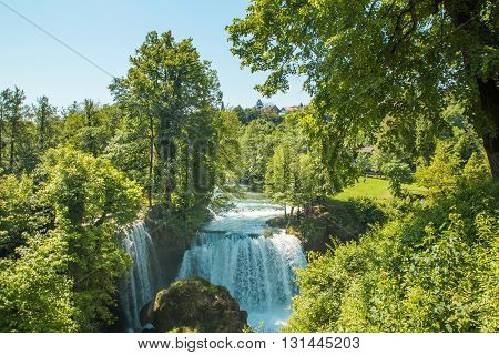 Waterfall on Korana river canyon and beautiful village of Rastoke near Slunj in Croatia