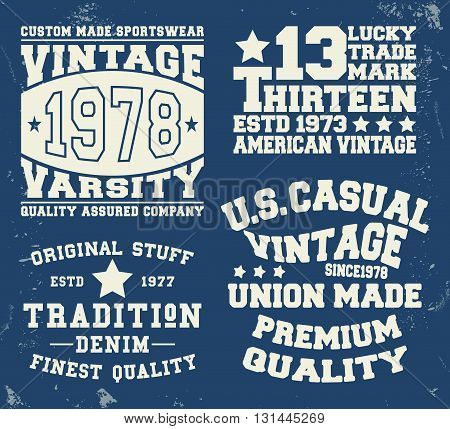 T-shirt print design. Set vintage stamp. Printing and badge applique label t-shirts jeans casual wear. Vector illustration.