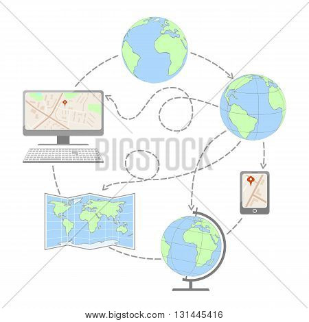 Process of creating maps. Globe, map, computer. Vector illustration