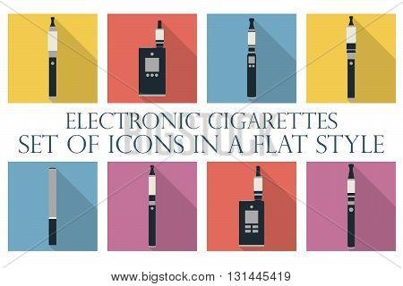 Electronic Cigarette. Electronic Cigarette Flat Icons. Types Vaporizers. Set.