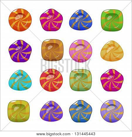 Set of vector bright colorful glossy candies. Isolated on white background