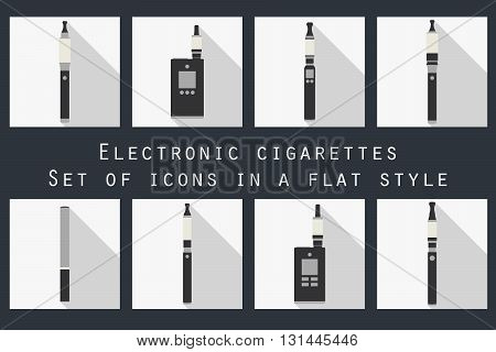 Electronic cigarette. Electronic cigarette flat icons. Types vaporizers. Set.