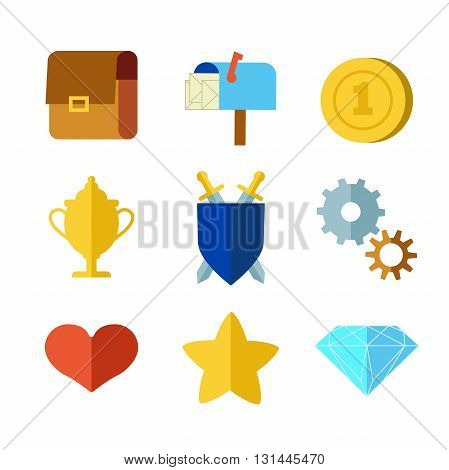 Cartoon flat set icons for game user interface (GUI) (for RPG game, mobile game or PC game), vector illustration