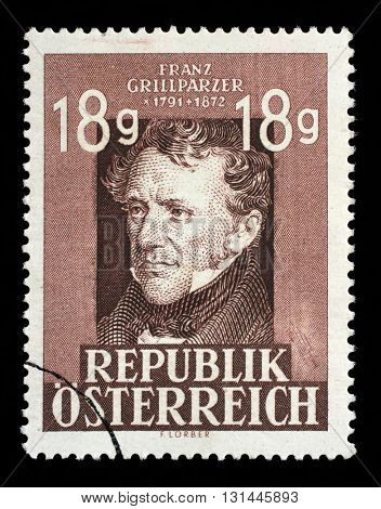 ZAGREB, CROATIA - SEPTEMBER 09: a stamp printed in the Austria shows Franz Grillparzer, Dramatic Poet, 75th Anniversary of the Death, circa 1947, on September 09, 2014, Zagreb, Croatia