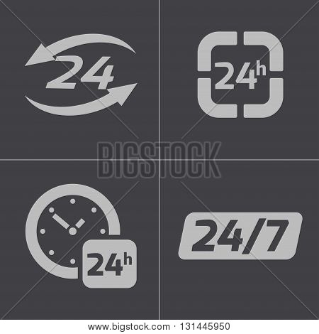 Vector black 24 hours icons set on gray background