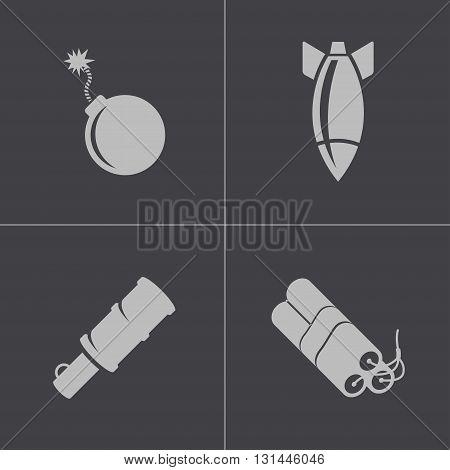 Vector black bomb icons set on white background