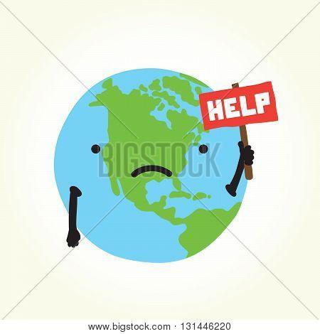 Sad planet Earth need help vector illustration