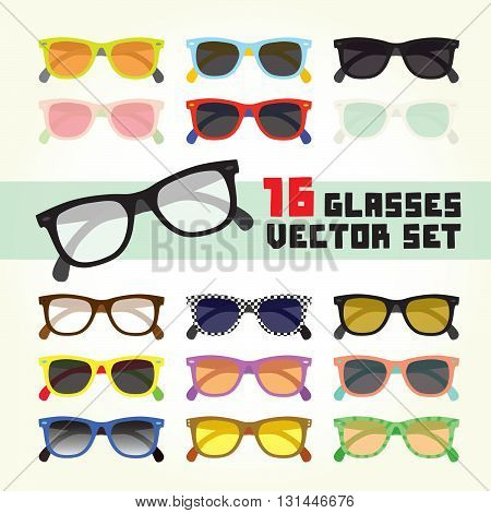 Hipster style glasses isolated colorful vector set
