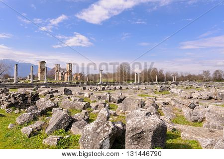 KRINIDES GREECE - FEBRUARY 25 2010: Roman forum and Basilica B further in the background at Philippi