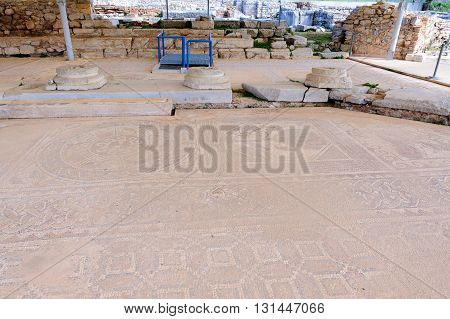 KRINIDES GREECE - FEBRUARY 25 2010: Beautiful mosaic floor of geometric shapes and animals at the Octagon Basilica church in Philippi