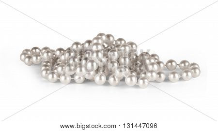 Pearl necklace on a white background silver