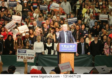 ANAHEIM CALIFORNIA, May 25, 2016:  Republican presidential candidate Donald Trump speaks at campaign event in Costa Mesa California to Thousands of Supporters.