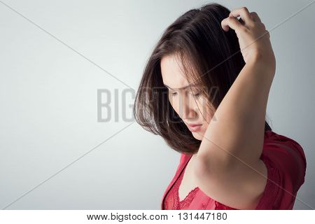itchy scalp itching In A Woman, on white background