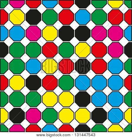 Seamless pattern of colored hexagons on a white background