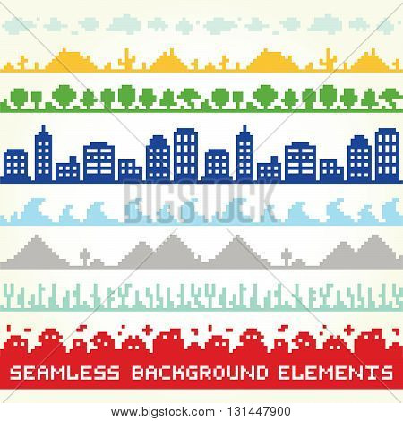 Seamless background vector location elements set illustration