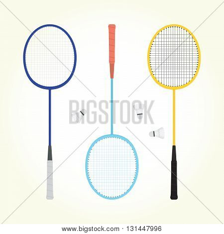 Retro badminton game vector isolated objects set