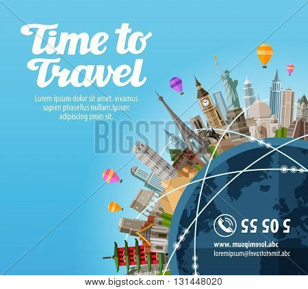 Travel to world. Landmarks on the planet. Journey. Vector illustration