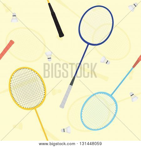 Vintage badminton rackets seamless vector yellow pattern