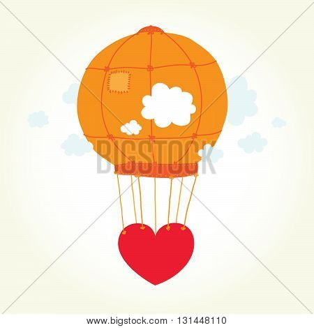 Air balloon heart in the sky isolated vector illustration