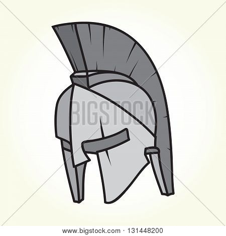 Spartan style warrior helmet isolated vector illustration