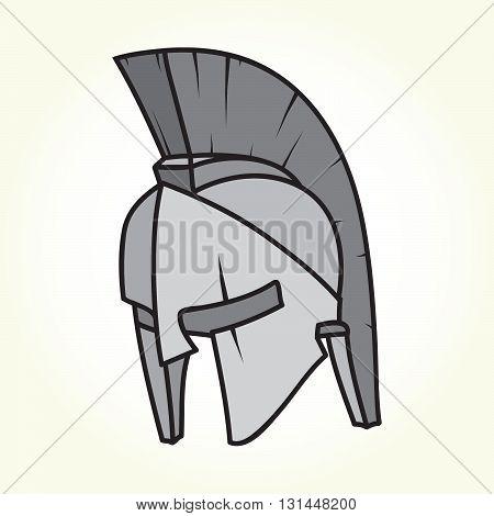 Spartan style warrior helmet isolated vector illustration