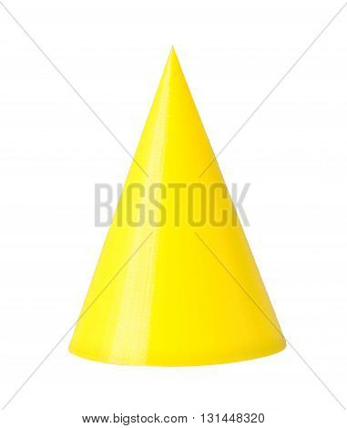 3d printed model of cone from yellow printer filament. Isolated on white. Printing at home 3d objects from thermoplastic.