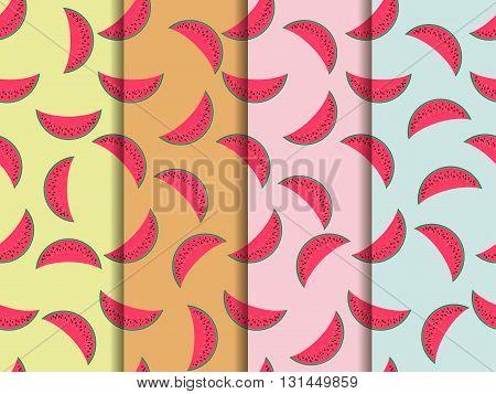 Watermelon seamless pattern watermelon slice. Vector illustration. Set.