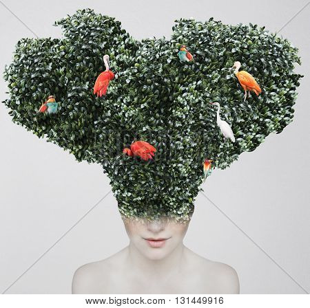 Artistic surreal portrait of a girl with a huge headgear of foliage and colorful birds on it isolated on light grey background