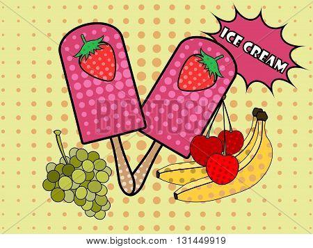 Ice cream pop art style. Fruit icecream. Popsicle. Ice cream on a stick. Vector.