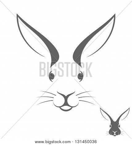 Rabbit head. Abstract animal on white background
