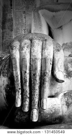Close up hand of Buddha statue in black and white