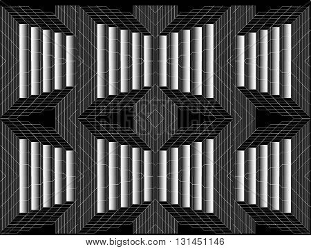 Black and white. Gray. Patterns.  In the picture with black, white and gray colors symmetrical geometric patterns. They can also be regarded as iron designs.