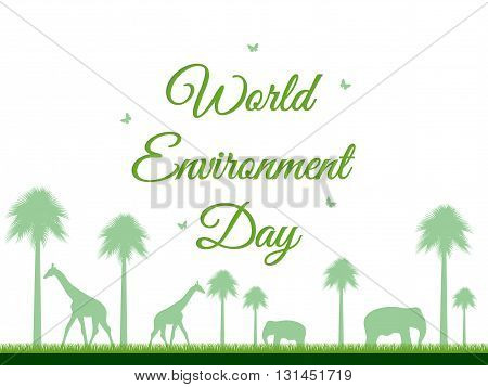 World Environment Day reserve Landscape with animals environment day environment go green. Vector.