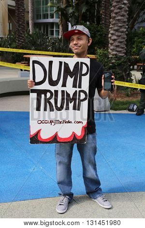 ANAHEIM CALIFORNIA, May 25, 2016: Protesters yell and  wave signs and effigies at a rally for Republican presidential candidate Donald Trump in Anaheim California 5.25.2016